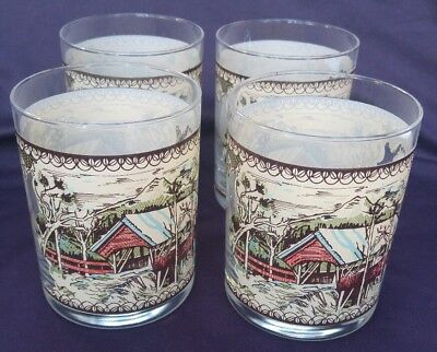 Johnson Brothers Friendly Village Highball Glass Set of 4 Covered Bridge Design