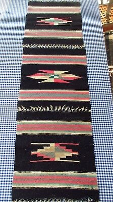 Lot Three (3) Vintage Chimayo Wool Weaving Mat Fabulous Old Southwest Dyes Htf