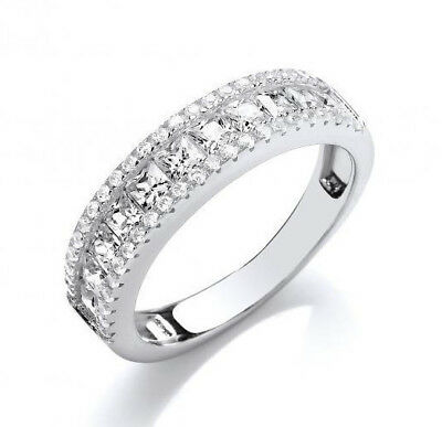 Rhodium Plated 925 Hallmarked Silver Princess Cut Half Eternity Band Ring