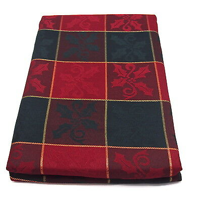"Large Rectangular Red/Green Check Christmas Tablecloth 70"" x 108(178cm x 275cm)"