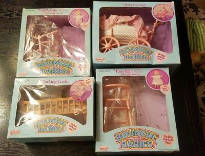 Vintage 1988 Lewis Galoob Bouncin' Babies Pink Baby Doll Nursery Furniture Box
