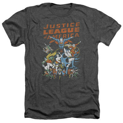 Justice League of America BIG GROUP Vintage Style Heather T-Shirt All Sizes