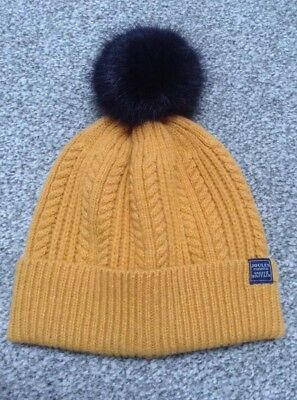 13c969090f465 JOULES Caramel yellow woolly warm winter bobble pompom beanie hat Cable Knit