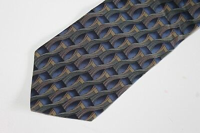 Stonehenge Cocktail Collection Mens Neck Tie 100% Silk Blue Green Geometric