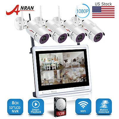 """ANRAN Home Security Camera System 1TB 8CH 1080P 12""""&7"""" Monitor NVR Outdoor CCTV"""