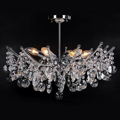 Modern Ceiling Light Shade Droplet Pendant Crystal Bead Chandelier Living Room