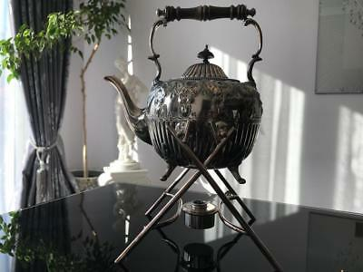Antique English SB&M Silver Plated Tea Kettle with Stand and Burner!