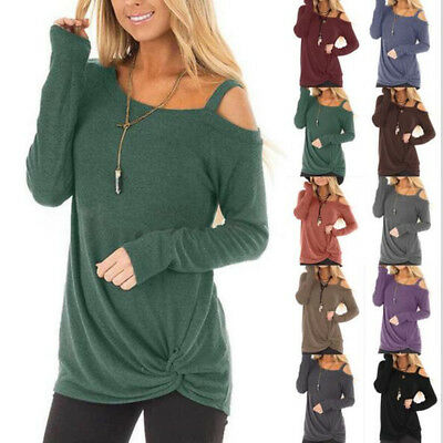 Women's Cold Shoulder Cut Out Long Sleeve Sweater Tops Blouse Shirt Pullover Tee