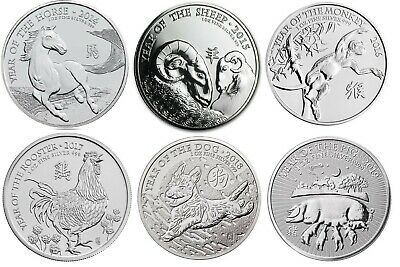 Royal Mint Lunar Silver 1oz coin Horse, Sheep, Monkey, Rooster, Dog, Pig 2014-19