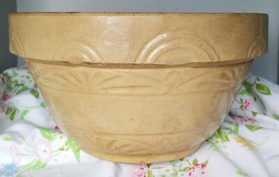 "VTG PRiMITIVE YELLOW WARE STONEWARE LARGE FARM HOUSE MIXING BOWL 12 by 6"" BREAD"