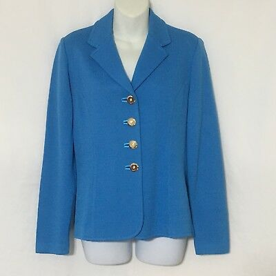 St John Collection Marie Gray Santana Knit Size 4 Jacket Gold Button Blue/Teal