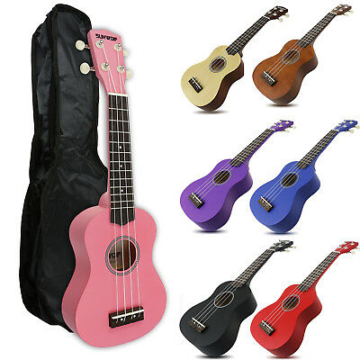 "SUNWOLF Beginners Kids Soprano 21 "" Ukulele Hawaii Solid Instrument & Free Bag"