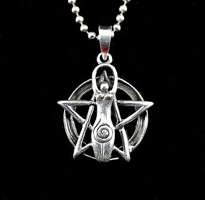 Handcrafted 925 Sterling Silver Goddess Pentacle Pentagram Pendant