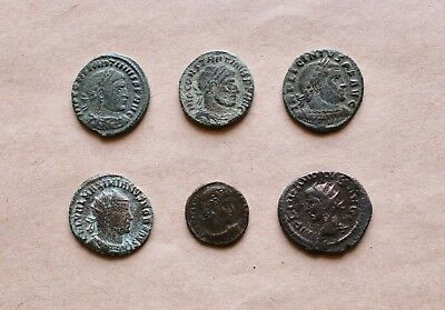 Lot Of 6 Roman Bronze Coins To Be Identified. Nice Items!