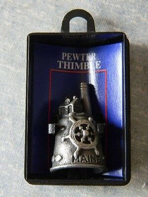 Pewter Thimble Souvenir - STATE OF MAINE - LIGHTHOUSE ON TOP-  NIB