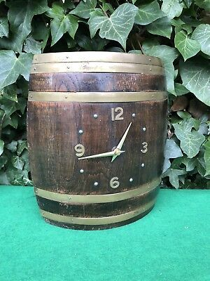 Quirky Antique Vintage Deco Half Wooden Barrel Pub Wall Clock, For Restoration