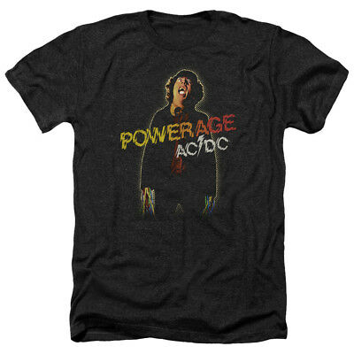ACDC AC-DC Rock Band POWERAGE Album Art Vintage Style Heather T-Shirt All Sizes