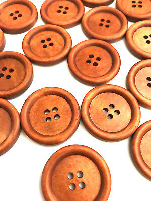 30 pcs Large Brown Buttons Oversize Sewing Coat Sweater Button Wood Big Fastener