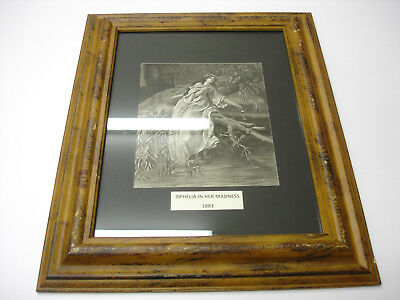 Rare Old ANTIQUE 1883 ART PRINT IN WOOD Frame OPHELIA IN HER MADNSS BEAUTIFUL
