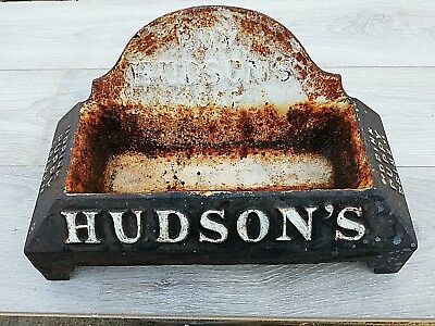 "Antique Hudsons Soap, cast iron, advertising dog bowl. ""drink puppy drink"""