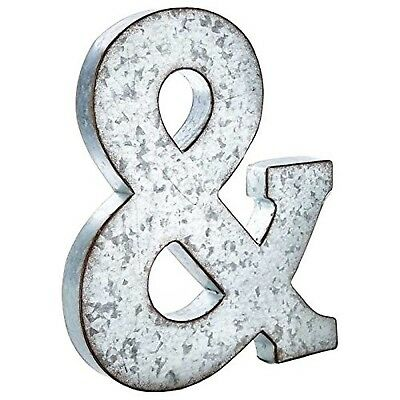 Huge 20 Metal Alphabet Wall Décor Letter & Ampersand Rusted Edge Galvanized M...