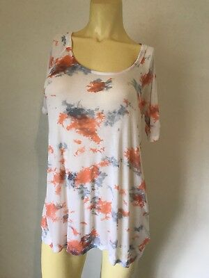 02c4e456 NWOT Splendid Orange Blue White Tie Dye Super Soft Maternity T Shirt Size  Medium