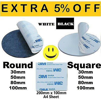 3M™ 9448A Double Sided Circle EVA Foam Black & White Pad Self Adhesive Round HQ