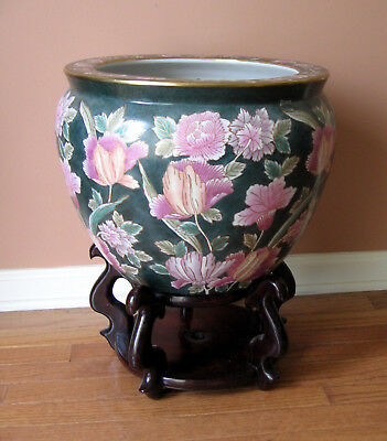 Chinese Porcelain Koi Fish Bowl Planter Jardiniere Bowl Pottery w/Wood Stand EUC