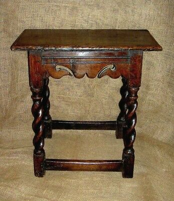 Rare Charles II 17th Century Walnut Joint Stool With Spiral Turned Legs c1670