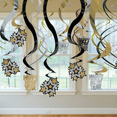 30 New years Party Black, Silver & Gold Hanging Foil Swirls Decoration