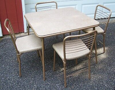 Vintage 1950s 1960s Cosco Folding Card Table and 4 Chairs Set Mid Century Nice