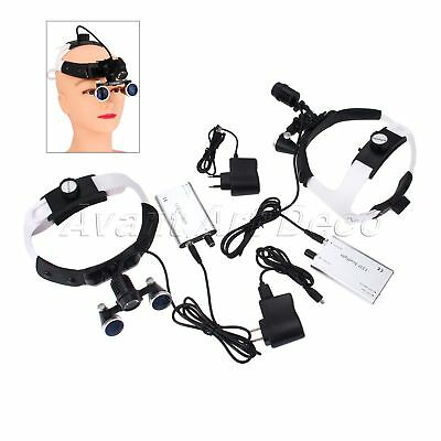 Dental Headband Loupes Surgical Binocular 2.5X 420mm + LED Head Light Portable
