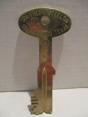 Southern Steel Company, Brass Jail/ Prison Key, San Antonio, Texas