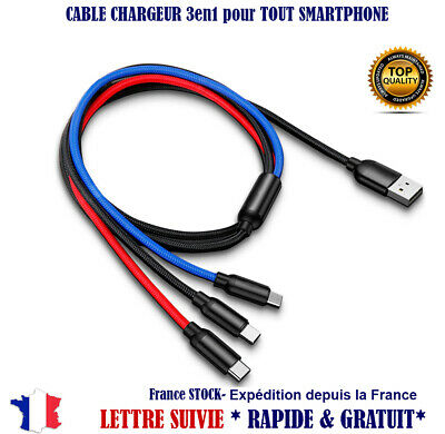 Chargeur voiture Cable 3en1 Type C Micro usb lightning iPhone android Samsung