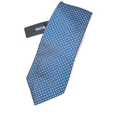 Hugo Boss Navy Geometric Silk Neck Tie Mens 3x58 NWT