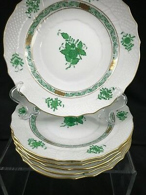 "HEREND CHINESE BOUQUET GREEN  7.5"" Salad Plate AV 1518 6 AVAILABLE"
