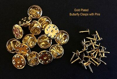 25 ⇥ Gold Plated Butterfly Clutch Clasps + 25 Gold Plated Backing Pins