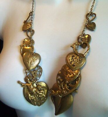 Antique Brass Angel Cameo and Heart Key Charm Necklace Beautiful rare