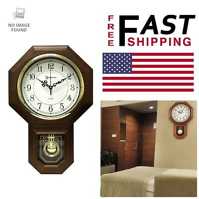 Faux Wood Wall Clock 18- 1/2 in. x 11-1/4 in. Pendulum Chime Home Office Decor