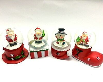 NEW 4x Christmas Snow Globe Xmas Crystal Water Ball Snowman Santa 5cm