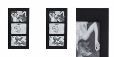 Malden 4x6 3-Opening Collage Picture Frame Displays Three Pictures, Black