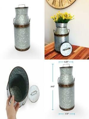 Barnyard Designs Rustic Galvanized Tin Milk Can, Jug | Vintage Rusty...
