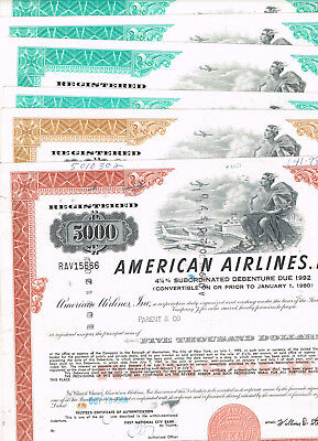 Set 6 American Airlines, Inc., 1960-70s, VF-VF minus