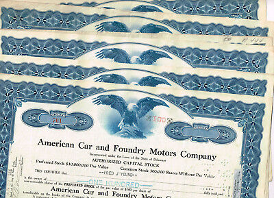 Set 6 American Car and Foundry Motors Co., 1940s, VF - VF minus