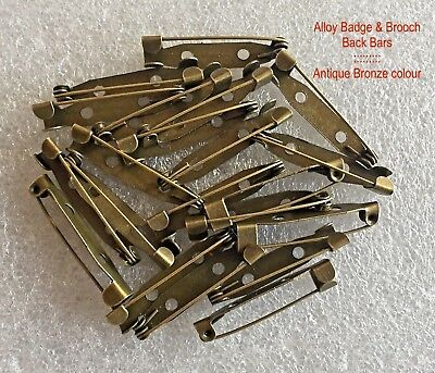 50 ⇥ 31mm BADGE or BROOCH BACK BAR CLASPS ~ ANTIQUE BRONZE COLOUR