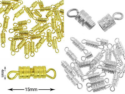 Wholesale Jewelry Clasps, 4x15mm Barrel Screw Type Clasp, Perfect for Necklace