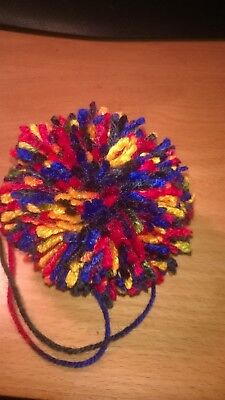 Large Pom Poms X 5 - Multicoloured  - 3 inch Dia - 8 ply Yarn - New - Aus Seller
