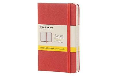 Moleskine Classic Notebook Pocket Squared Coral Orange Hard Cover 3.5 X 5.5