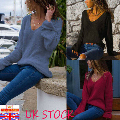 Women Long Sleeve Baggy Knitted Sweater Jumper Ladies Casual V Neck Pullover Top