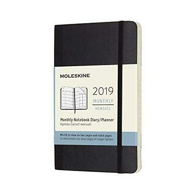 Moleskine 2019 12m Monthly Pocket Monthly Black Soft Cover 3.5 X 5.5 NEW!